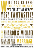 Classic Typography Wedding Invitations Personalised ~ QUANTITY DISCOUNT AVAILABLE - YellowBlossomDesignsLtd
