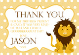 Giraffe Monkey Lion Polka Dots Personalised Birthday Thank You Cards Printed Kids Child Boys Girls Adult ~ QUANTITY DISCOUNT AVAILABLE