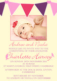 Vintage Bunting Photo Celebration Party - Christening Invitations Joint Boy Girl Unisex Twins Baptism Naming Day Ceremony Celebration Party ~ QUANTITY DISCOUNT AVAILABLE