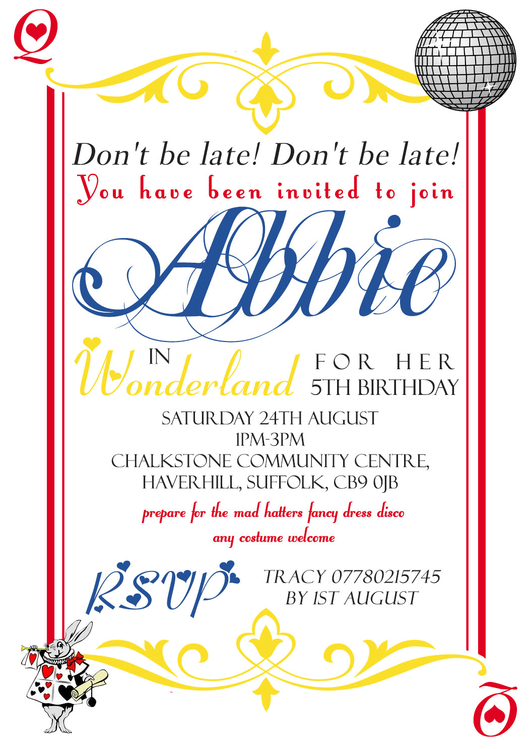 Don\'t Be Late Queen Of Hearts Alice Wonderland Invitations - Boy ...