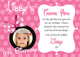 Mouse Girlie Bow Dots Pink Purple Yellow Photo Personalised Birthday Thank You Cards Printed Kids Child Boys Girls Adult ~ QUANTITY DISCOUNT AVAILABLE
