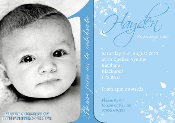 Baby 1st First ONE Photo Invitations - Birthday Twin Invites Boy Girl Joint Party Twins Unisex Printed Children's Kids Child ~ QUANTITY DISCOUNT AVAILABLE