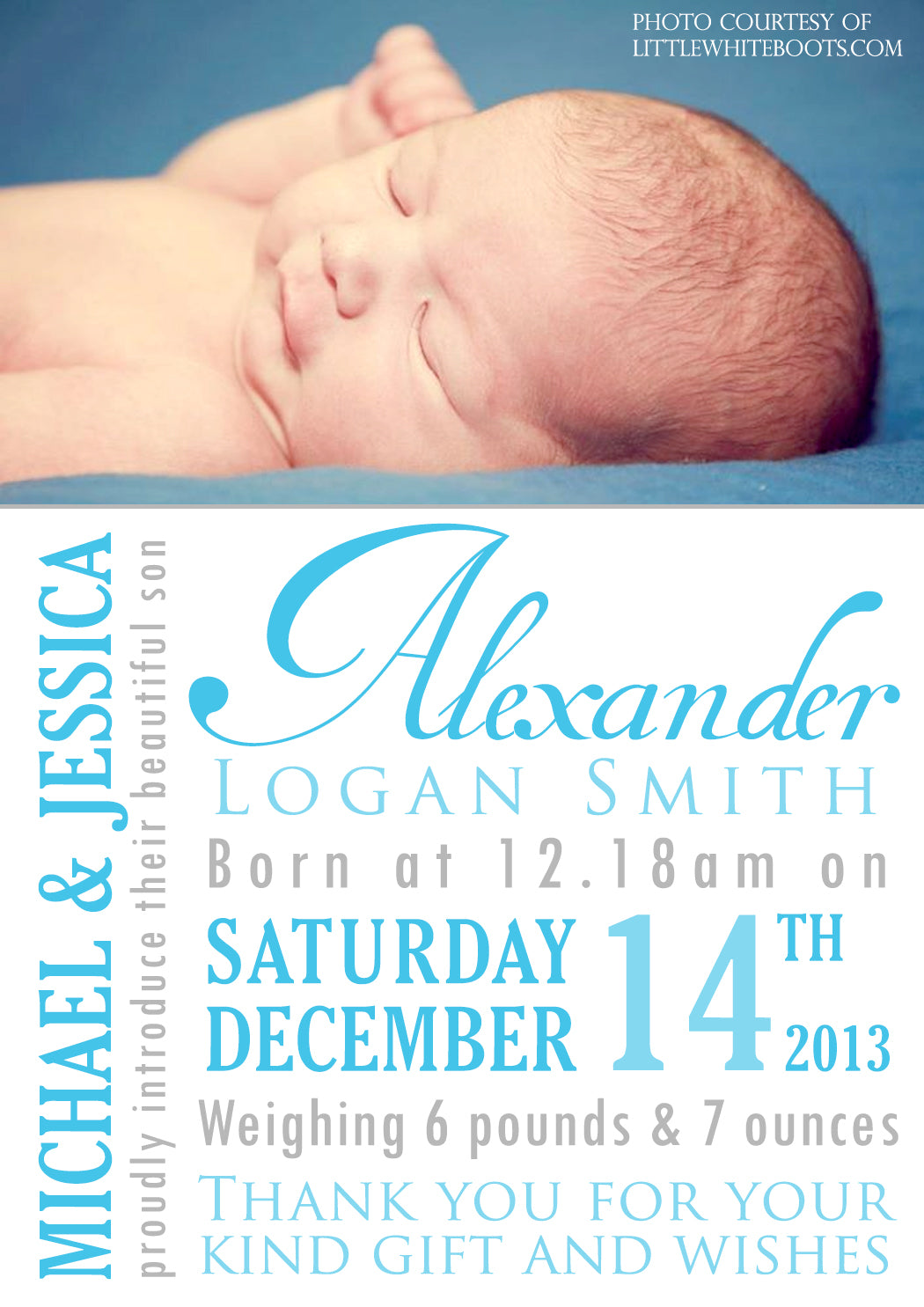 wordart thank you message note new born baby birth announcement