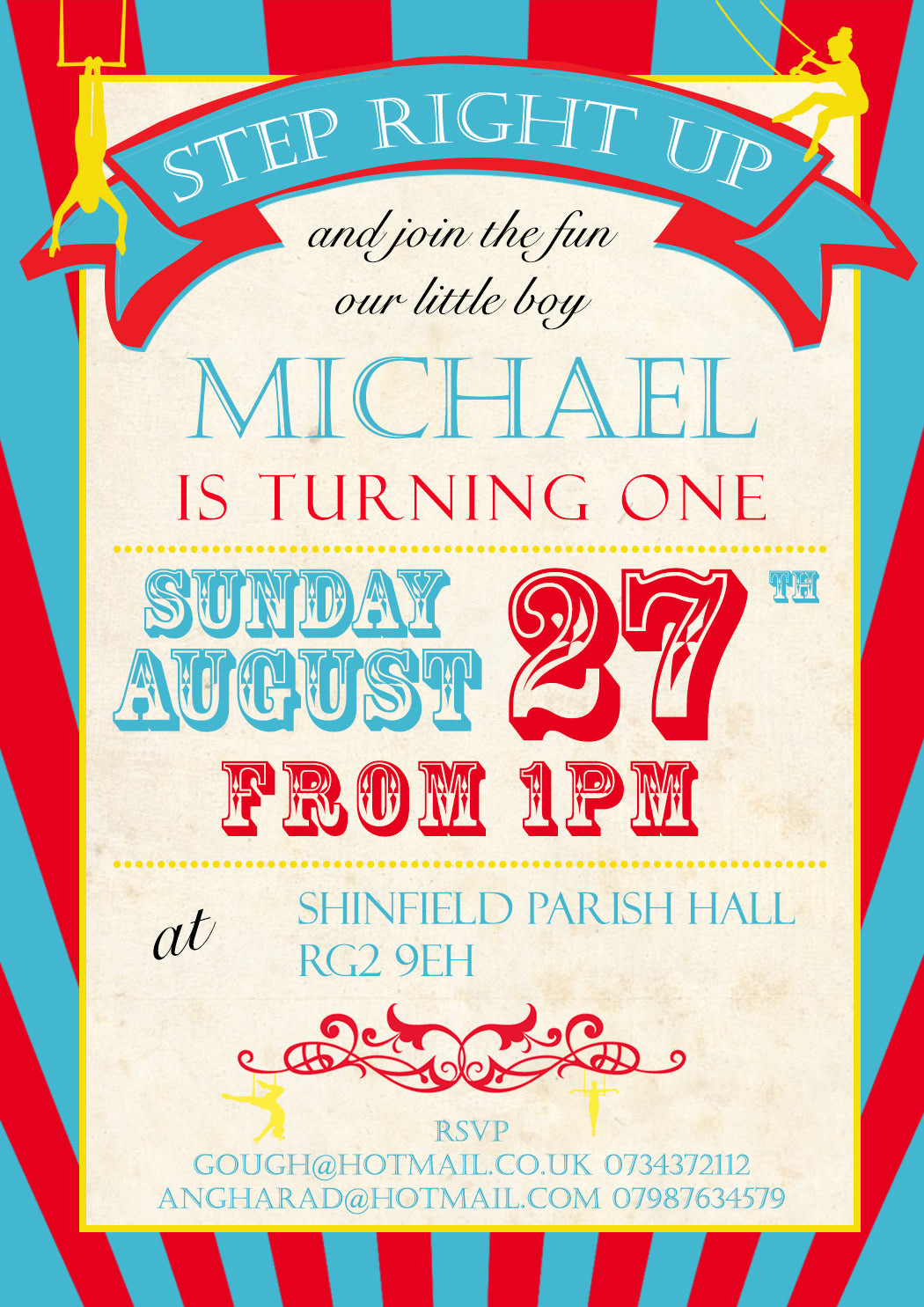 Circus Roll Up Roll Up Invitations - Birthday Invites Boy Girl Joint