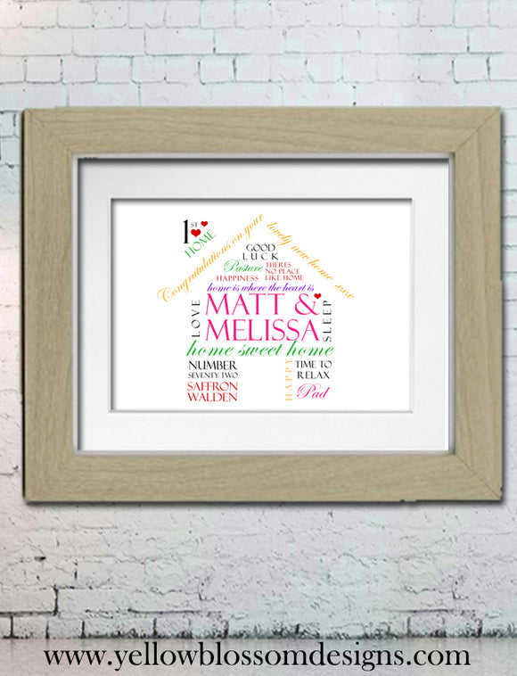 Personalised New Home House First 1st Keepsake Print Housewarming