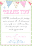 Shabby Chic Rustic Joint Boy Girl Twins Photo Personalised Thank You Cards Christening Baptism Naming Day Party Celebrations ~ QUANTITY DISCOUNT AVAILABLE