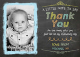 Vintage Chalkboard Joint Boy Girl Twins Photo Personalised Thank You Cards Christening Baptism Naming Day Party Celebrations ~ QUANTITY DISCOUNT AVAILABLE