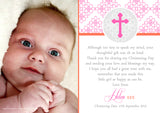 Elegant Religious Pink Blue Joint Boy Girl Twins Photo Personalised Thank You Cards Christening Baptism Naming Day Party Celebrations ~ QUANTITY DISCOUNT AVAILABLE