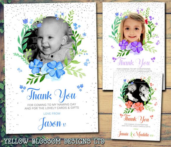 Thank You Cards With Printed Photo Christening Birthday Pink Blue Multi