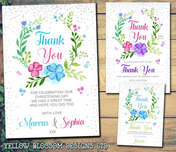 Christening Birthday Easter Thank You Cards Peter Rabbit Floral Wreath - YellowBlossomDesignsLtd