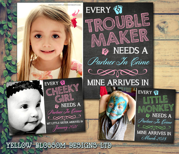 Trouble Maker Partner In Crime Sister Brother Sibling Personalised Pregnancy Announcement Cards New Baby Pregnant
