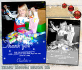 Blue Silver Personalised Folded Flat Christmas Thank You Photo Cards Family Child Kids ~ QUANTITY DISCOUNT AVAILABLE - YellowBlossomDesignsLtd