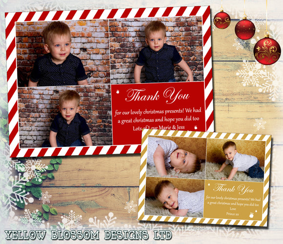 Candy Cane Red Gold Personalised Folded Flat Christmas Thank You Photo Cards Family Child Kids ~ QUANTITY DISCOUNT AVAILABLE