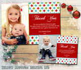 Diamond Boy Girl Joint Personalised Folded Flat Christmas Thank You Photo Cards Family Child Kids ~ QUANTITY DISCOUNT AVAILABLE