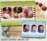 3 Photos Personalised Folded Flat Christmas Thank You Photo Cards Family Child Kids ~ QUANTITY DISCOUNT AVAILABLE