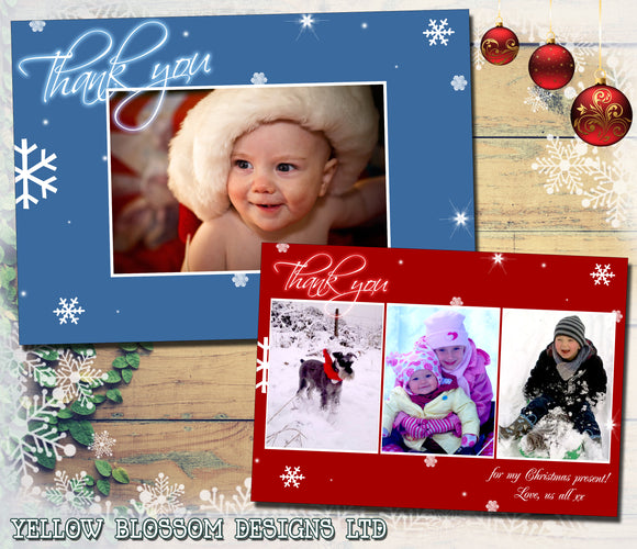 Red Blue Magical Personalised Folded Flat Christmas Thank You Photo Cards Family Child Kids