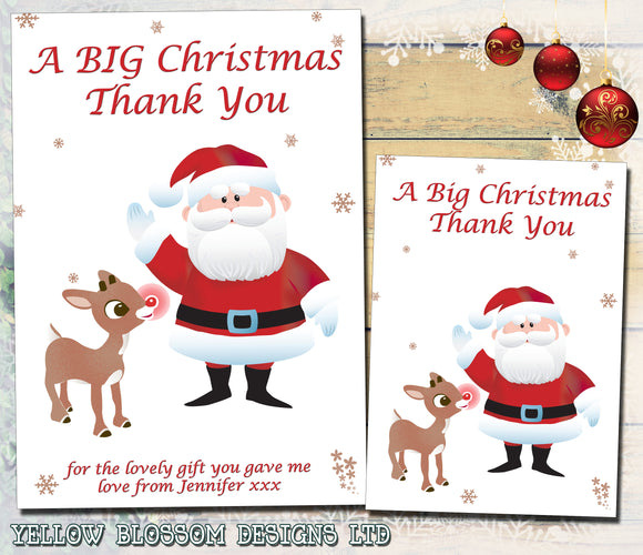 Santa Reindeer Personalised Folded Flat Christmas Thank You Photo Cards Family Child Kids ~ QUANTITY DISCOUNT AVAILABLE