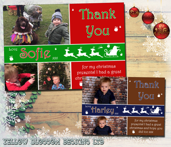 Reindeer Santa 3 Photos Personalised Folded Flat Christmas Thank You Photo Cards Family Child Kids
