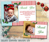 Spots & Stripes Personalised Folded Flat Christmas Thank You Photo Cards Family Child Kids ~ QUANTITY DISCOUNT AVAILABLE