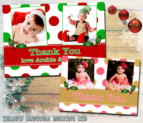 Polka Dots Personalised Folded Flat Christmas Thank You Photo Cards Family Child Kids ~ QUANTITY DISCOUNT AVAILABLE