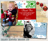 Elegant Snowflakes Personalised Folded Flat Christmas Thank You Photo Cards Family Child Kids ~ QUANTITY DISCOUNT AVAILABLE