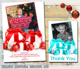 Present Personalised Folded Flat Christmas Thank You Photo Cards Family Child Kids ~ QUANTITY DISCOUNT AVAILABLE