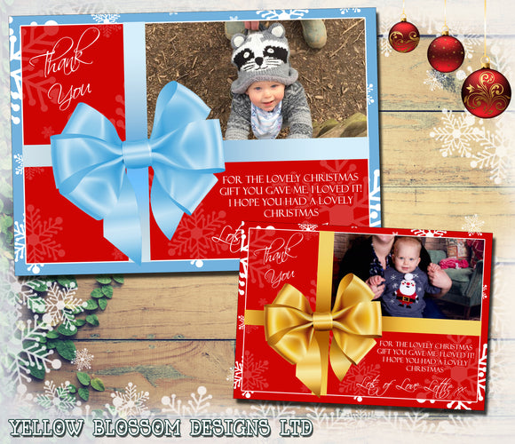 Bow Gift Present Personalised Folded Flat Christmas Thank You Photo Cards Family Child Kids ~ QUANTITY DISCOUNT AVAILABLE