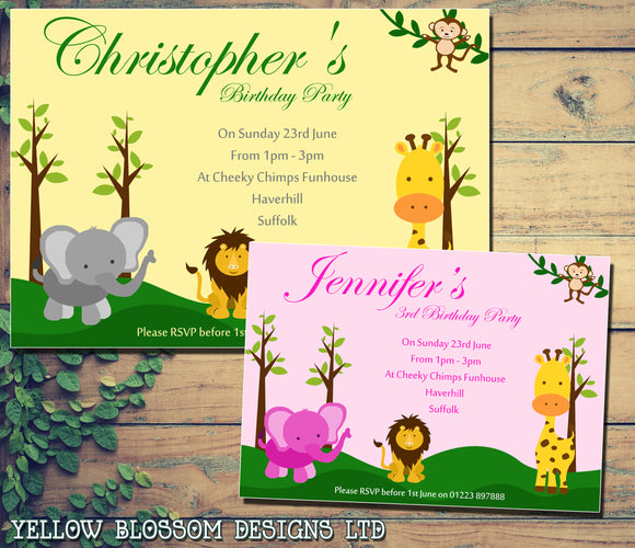 Wild Zoo Animals Elephant Lion Monkey Giraffe - Children's Kids Child Birthday Invitations Boy Girl Joint Party Twins Unisex Printed ~ QUANTITY DISCOUNT AVAILABLE