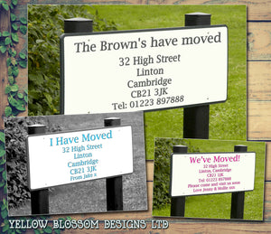 Road Street Sign Personalised Moving House Announcement Cards ~ QUANTITY DISCOUNT AVAILABLE