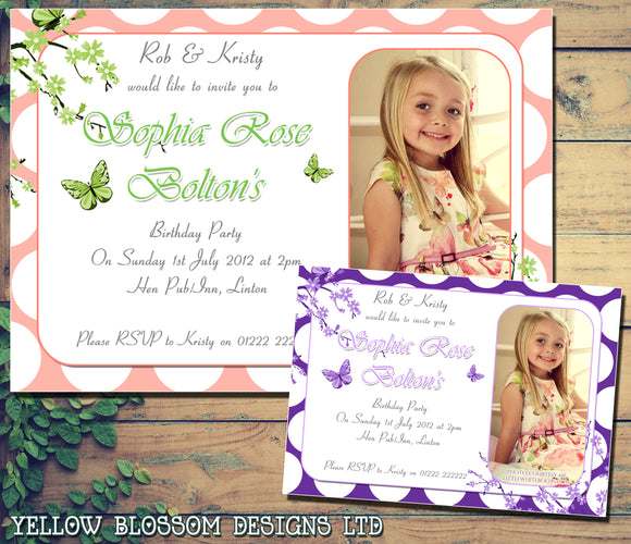 Children's Kids Child Birthday Invitations Boy Girl Joint Party Twins Unisex Printed - Girlie Butterlfies ~ QUANTITY DISCOUNT AVAILABLE