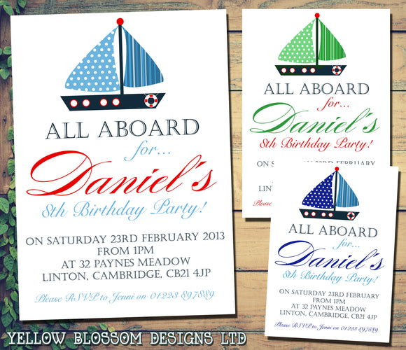 All Aboard Sailor Nautical Invitations - Boys Girls Joint Birthday Party Invites Twins Unisex Printed ~ QUANTITY DISCOUNT AVAILABLE