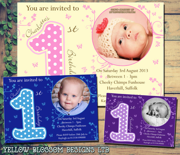 Adorable 1st Birthday Invitations - Boy Girl Joint Party Invites Twins Unisex Printed Children's Kids Child ~ QUANTITY DISCOUNT AVAILABLE