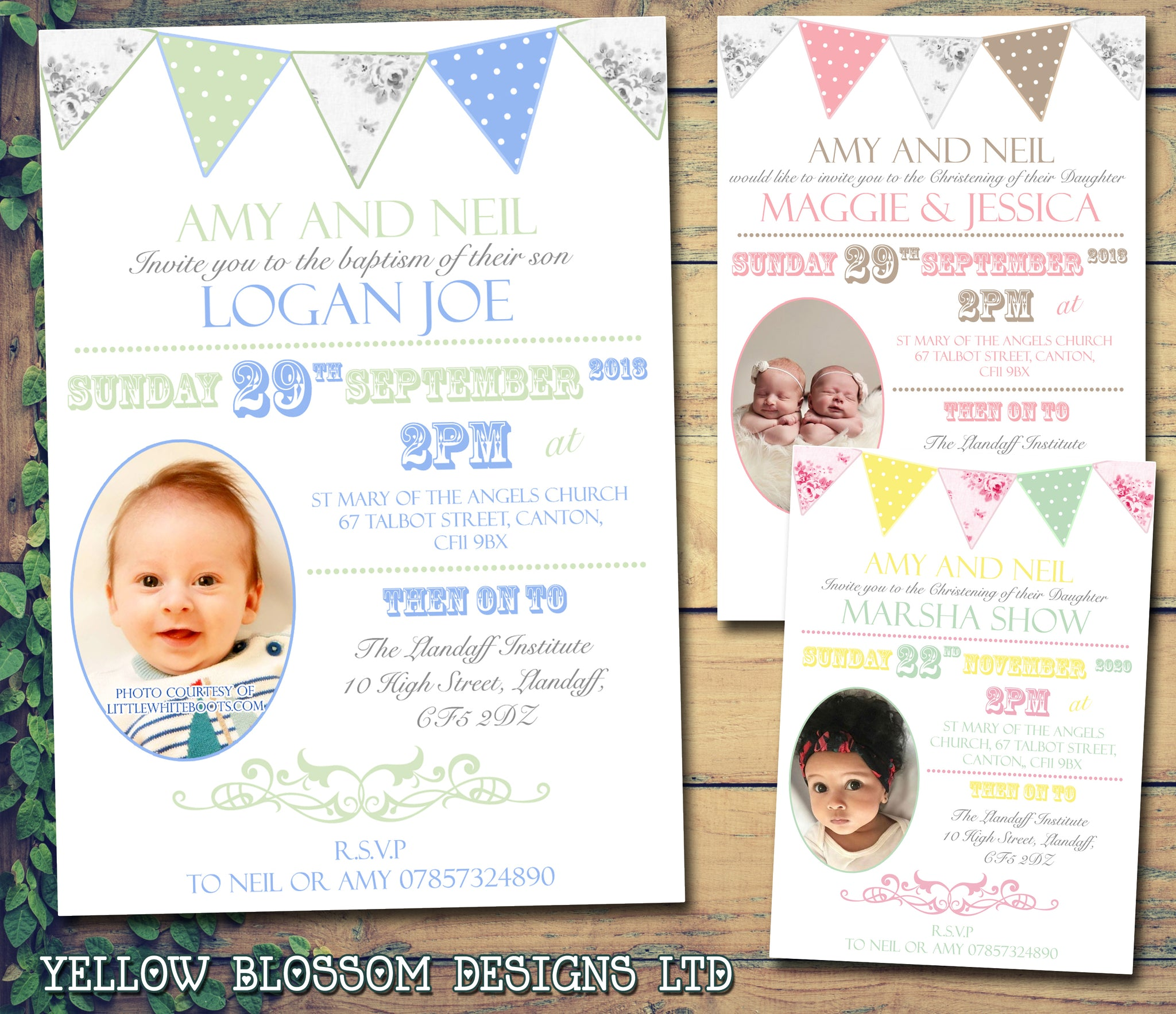 Rustic Poster Bunting Chic Photo - Christening Invitations Joint Boy ...