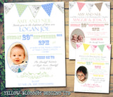 Rustic Poster Bunting Chic Photo - Christening Invitations Joint Boy Girl Unisex Twins Baptism Naming Day Ceremony Celebration Party ~ QUANTITY DISCOUNT AVAILABLE