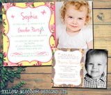 Roses Photo Party Invitations - Birthday Invites Boy Girl Joint Party Twins Unisex Printed Children's Kids Child ~ QUANTITY DISCOUNT AVAILABLE