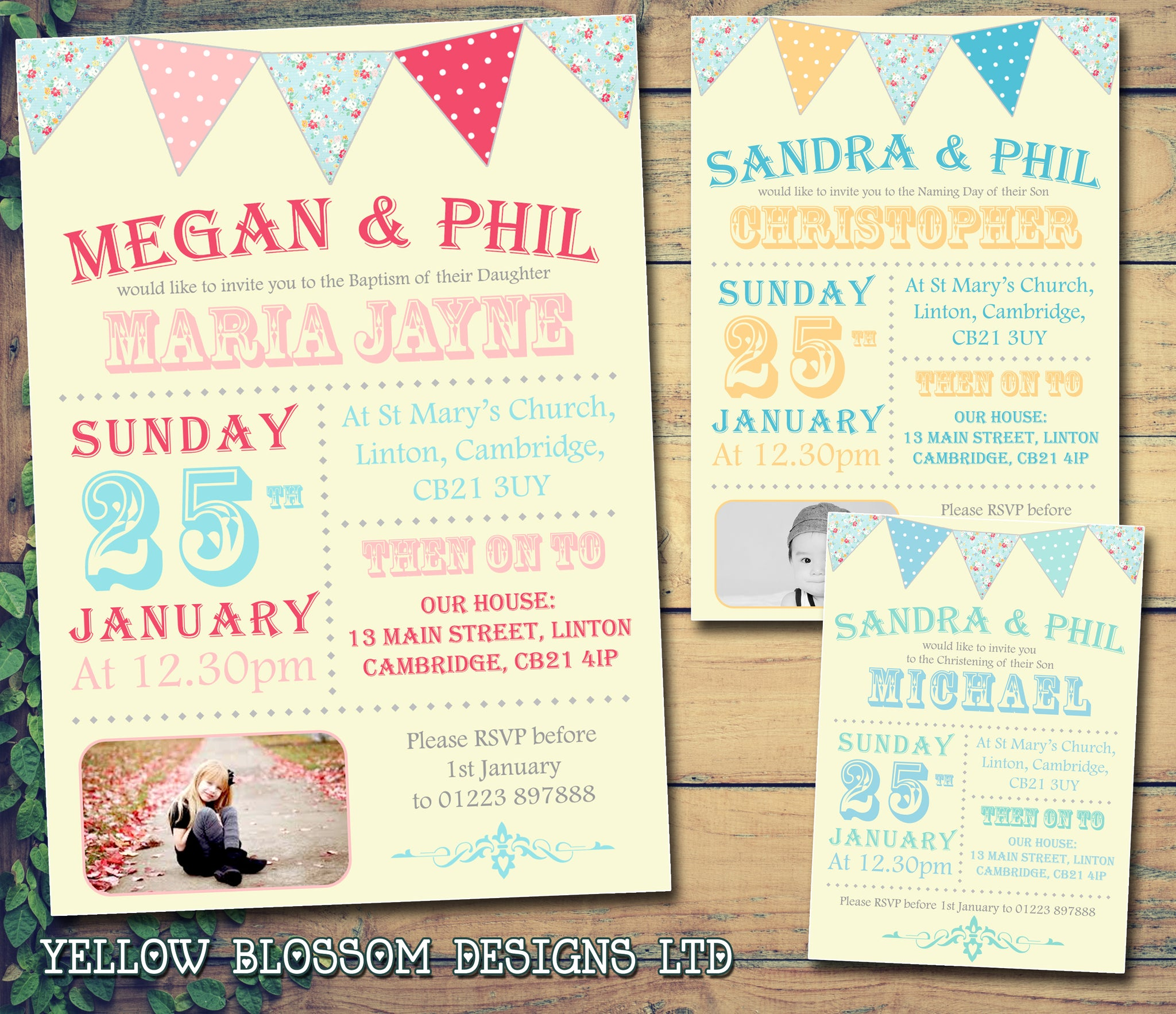 Funky Bunting Photo Celebration Party - Christening Invitations ...