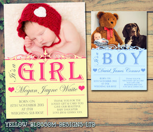 It's A Boy Girl Thank You Message Note New Born Baby Birth Announcement Photo Cards Personalised Bespoke ~ QUANTITY DISCOUNT AVAILABLE