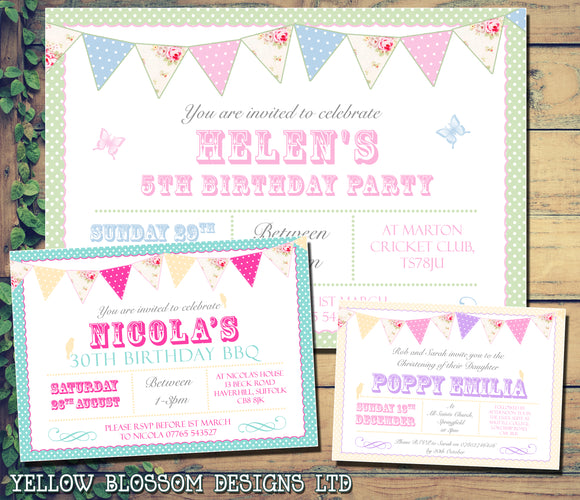 Children's Adult Hen Party Invitations - Boys Girls Joint Birthday Party Invites Twins Unisex Printed ~ QUANTITY DISCOUNT AVAILABLE