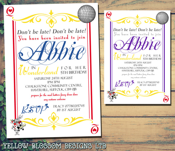 Don't Be Late Queen Of Hearts Alice Wonderland Invitations - Boy Girl Unisex Joint Birthday Invites Boy Girl Joint Party Twins Unisex Printed ~ QUANTITY DISCOUNT AVAILABLE