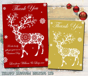 Classic Elegant Reindeer Pattern Personalised Folded Flat Christmas Thank You Photo Cards Family Child Kids ~ QUANTITY DISCOUNT AVAILABLE - YellowBlossomDesignsLtd