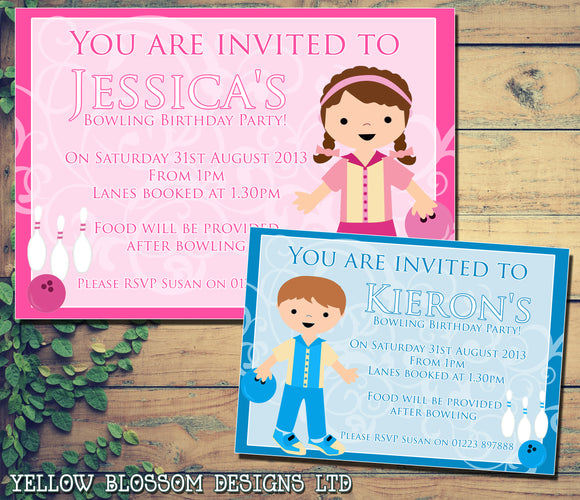 Boy Girl Bowling Invite - Children's Kids Child Birthday Invitations Boy Girl Joint Party Twins Unisex Printed ~ QUANTITY DISCOUNT AVAILABLE