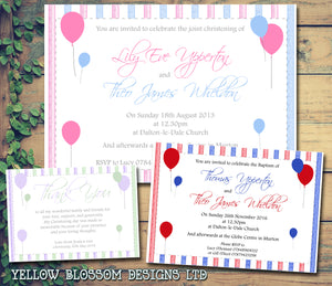 Balloons Joint Celebration Party - Christening Invitations Boy Girl Unisex Twins Baptism Naming Day Ceremony Celebration Party ~ QUANTITY DISCOUNT AVAILABLE - YellowBlossomDesignsLtd