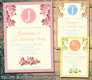 Birthday Party Invitations - Boy Girl Unisex Joint Birthday Invites Boy Girl Joint Party Twins Unisex Printed ~ QUANTITY DISCOUNT AVAILABLE