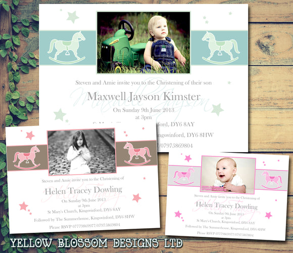 Rocking Horse Photo Celebration Party - Christening Invitations Joint Boy Girl Unisex Twins Baptism Naming Day Ceremony Celebration Party ~ QUANTITY DISCOUNT AVAILABLE