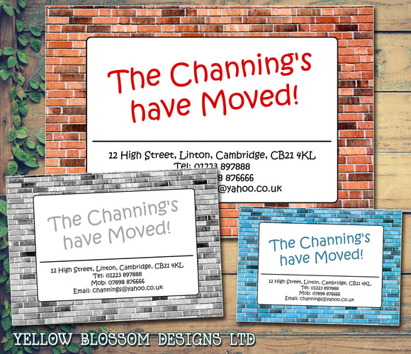 Rustic Brick Sign Personalised Moving House Announcement Cards ~ QUANTITY DISCOUNT AVAILABLE