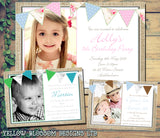 Shabby Chic Rustic Vintage Photo Invitations - Boy Girl Unisex Joint Birthday Invites Boy Girl Joint Party Twins Unisex Printed ~ QUANTITY DISCOUNT AVAILABLE