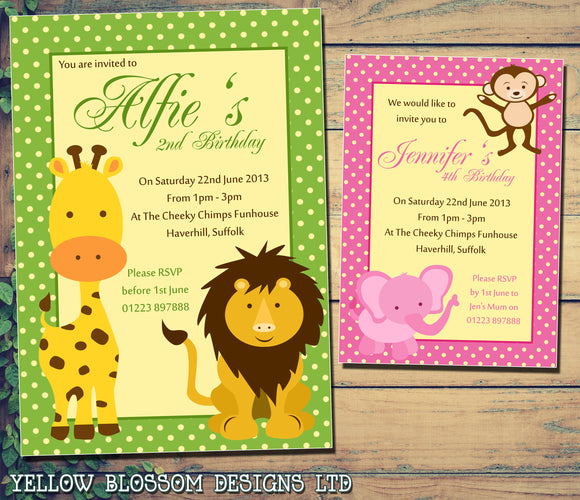 Lion Monkey Giraffe Elephant Invitation - Children's Kids Child Birthday Invitations Boy Girl Joint Party Twins Unisex Printed ~ QUANTITY DISCOUNT AVAILABLE