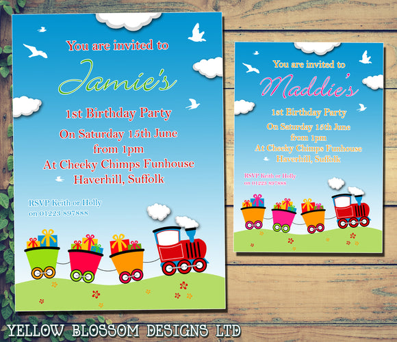 Train Choo Choo - Children's Kids Child Birthday Invitations Boy Girl Joint Party Twins Unisex Printed ~ QUANTITY DISCOUNT AVAILABLE