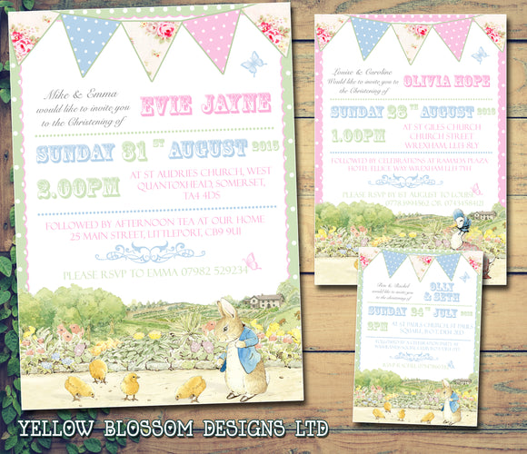 Peter Rabbit Joint Celebration Party - Christening Invitations Boy Girl Unisex Twins Baptism Naming Day Ceremony Celebration Party ~ QUANTITY DISCOUNT AVAILABLE