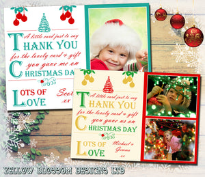 Personalised Folded Flat Christmas Thank You Photo Cards Family Child Kids